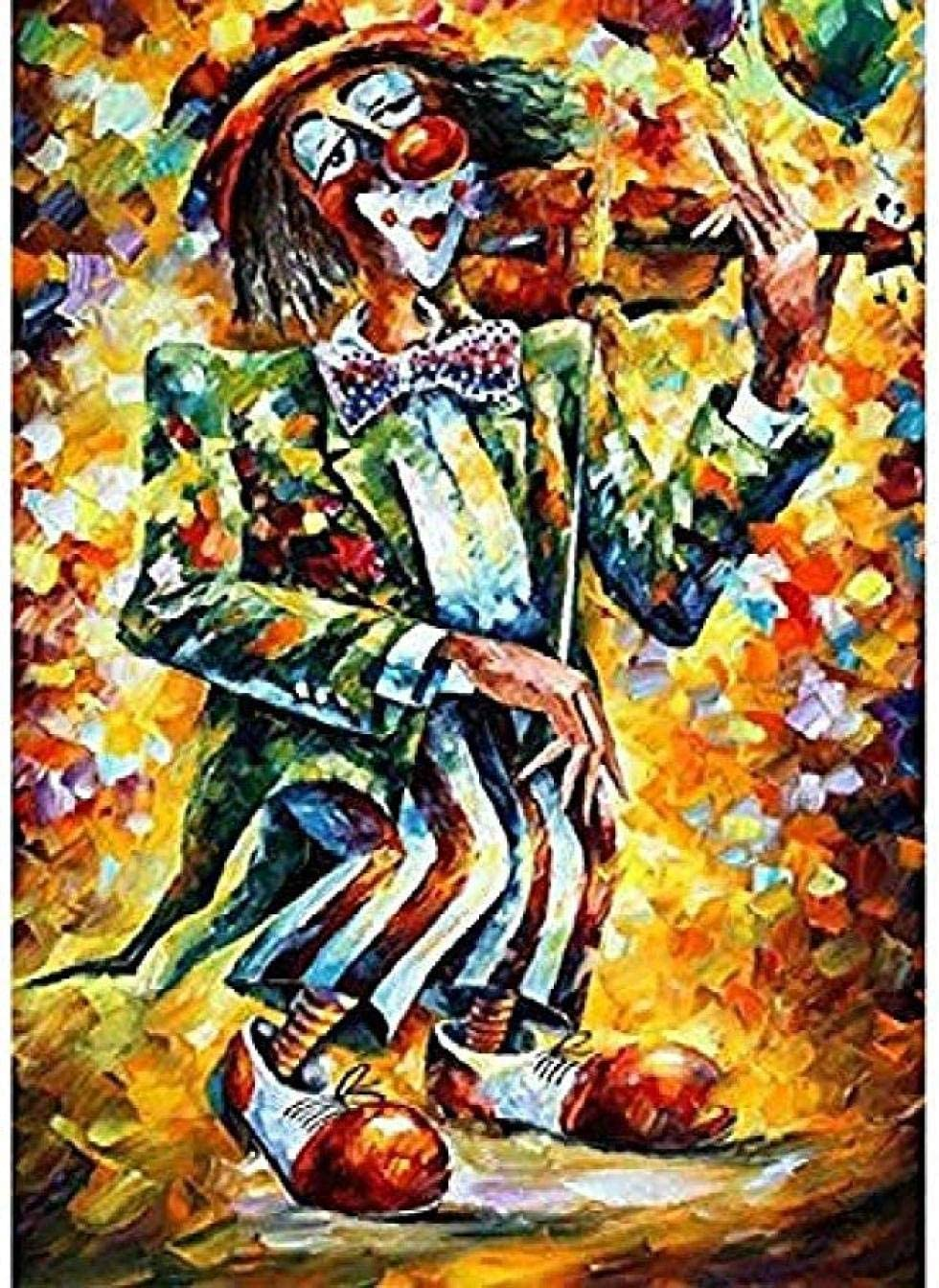 Without Framed Kpdar Paint by Numbers Kits for Adults and Kids Abstract Character Clown Violinist Diy Oil Painting Digital Canvas Wall Art Home Decoration 40X50Cm//15.80X 19.70 Inch