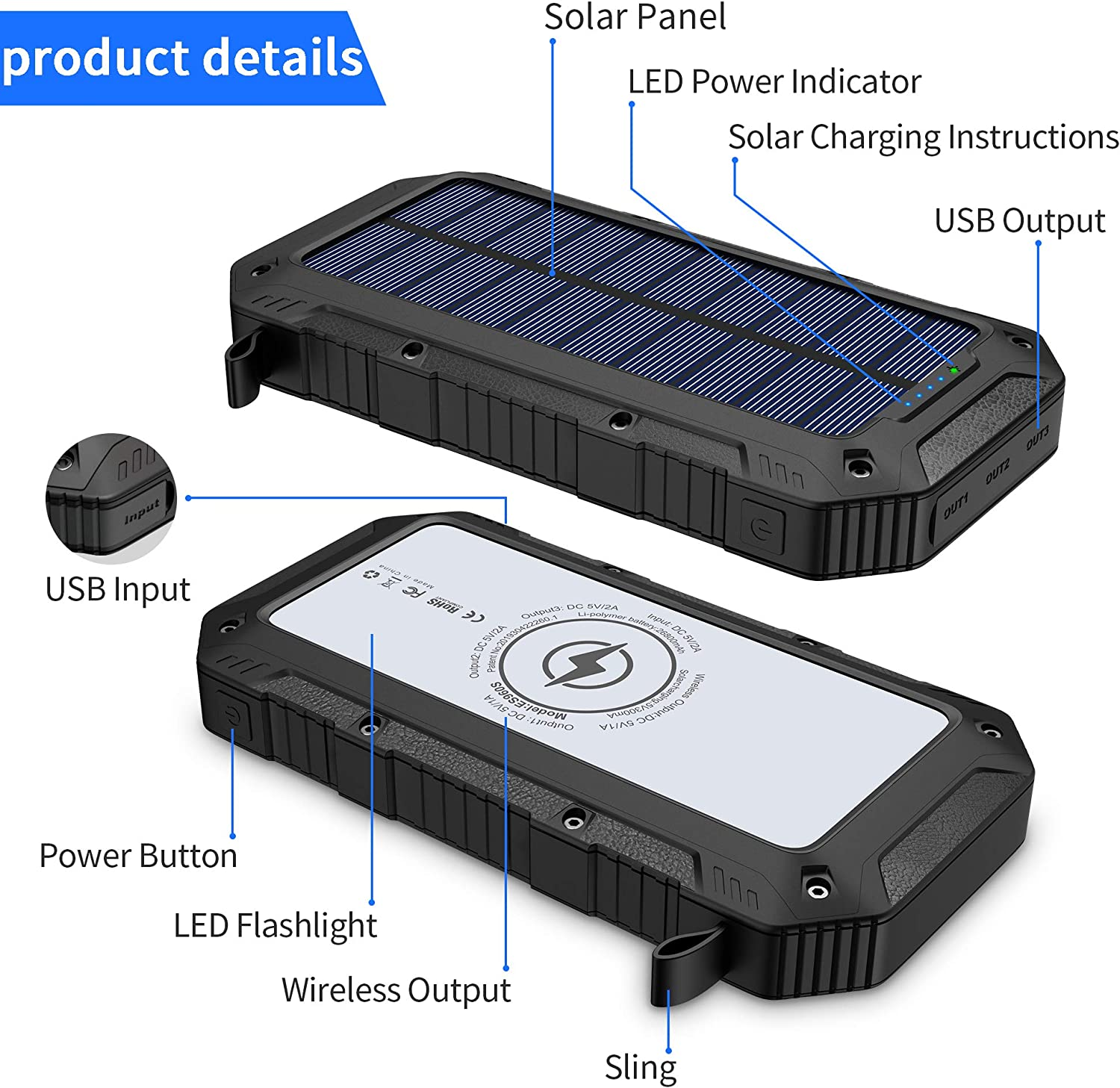 FKANT Power Bank Solar 26800mAh