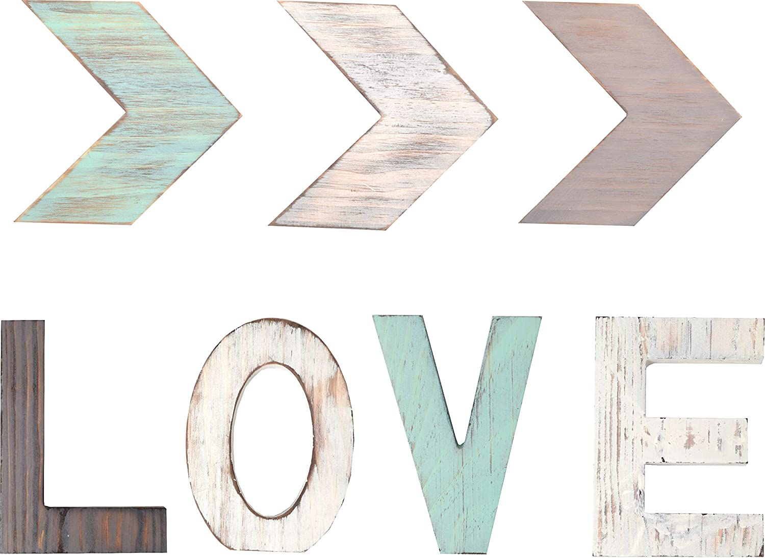 Rustic Wood Love & Three ARROW Décor Signs Home Décor |Freestanding Wooden Letters Cutouts for Home Décor| Multi-Color Wooden Signs | Decorative Word Signs | for Kitchen Shelf, Farmhouse Décor, Living
