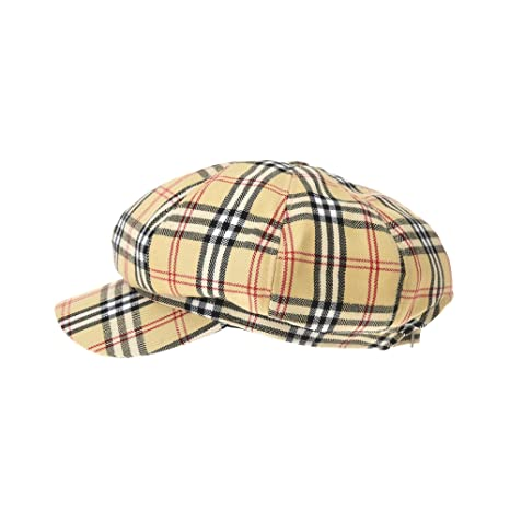 4e9c367917b WITHMOONS Wool Beret Cap Tartarn Plaid Check Pattern Bakerboy Visor Hat  KR3942 (Beige) at Amazon Women s Clothing store