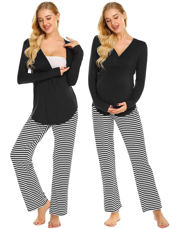 19b6ae49bd108 Ekouaer Cotton Soft Maternity & Nursing Pajamas Sleepwear Set Womens  Breastfeeding Pjs Pregnancy Loungewear (Black Striped L) at Amazon Women's  Clothing ...