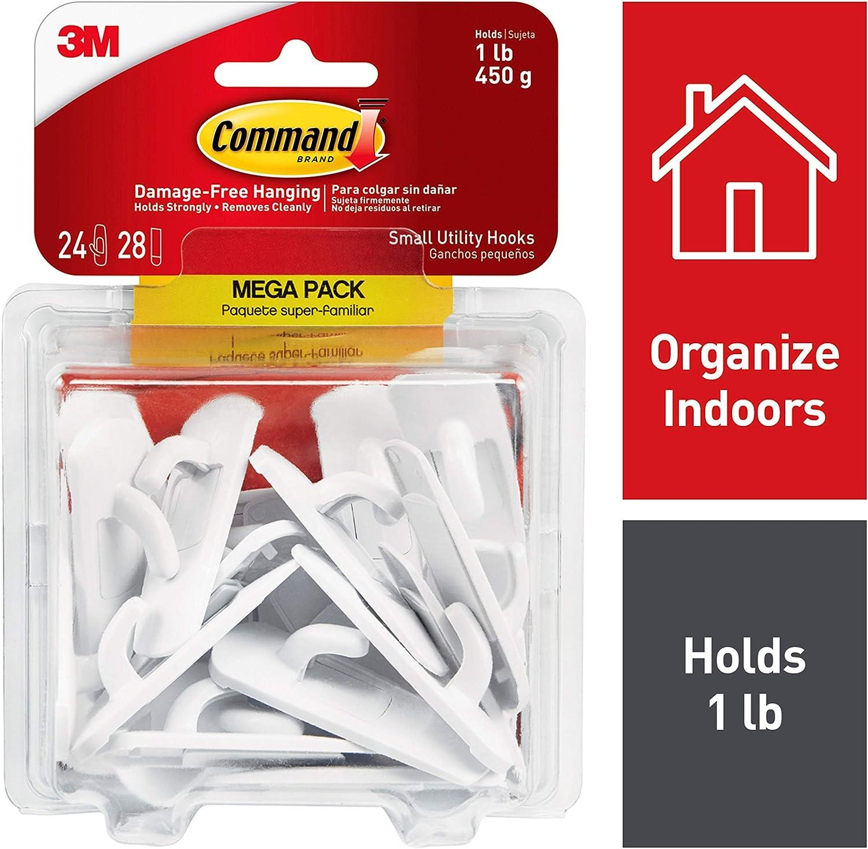Comando pequeña utilidad Ganchos Mega Pack, blanco, 24-hooks (17002-mpes)