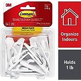 Command Small Utility Hooks Mega Pack, White, 24-Hooks (17002-MPES)