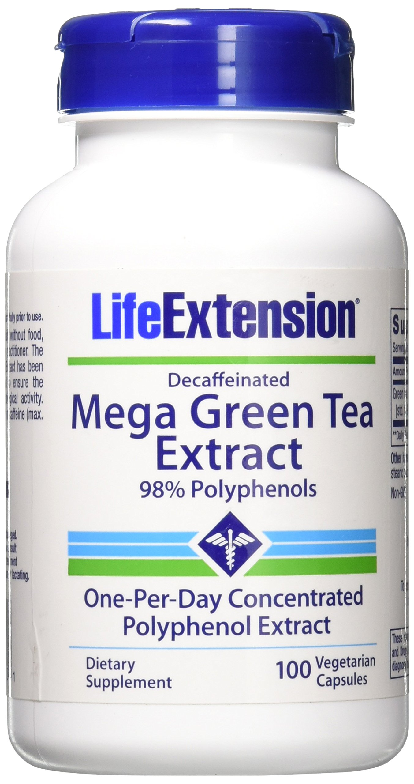 Mega Green Tea Extract Decaf. 100 VegiCaps (Pack of 2) by Life Extension