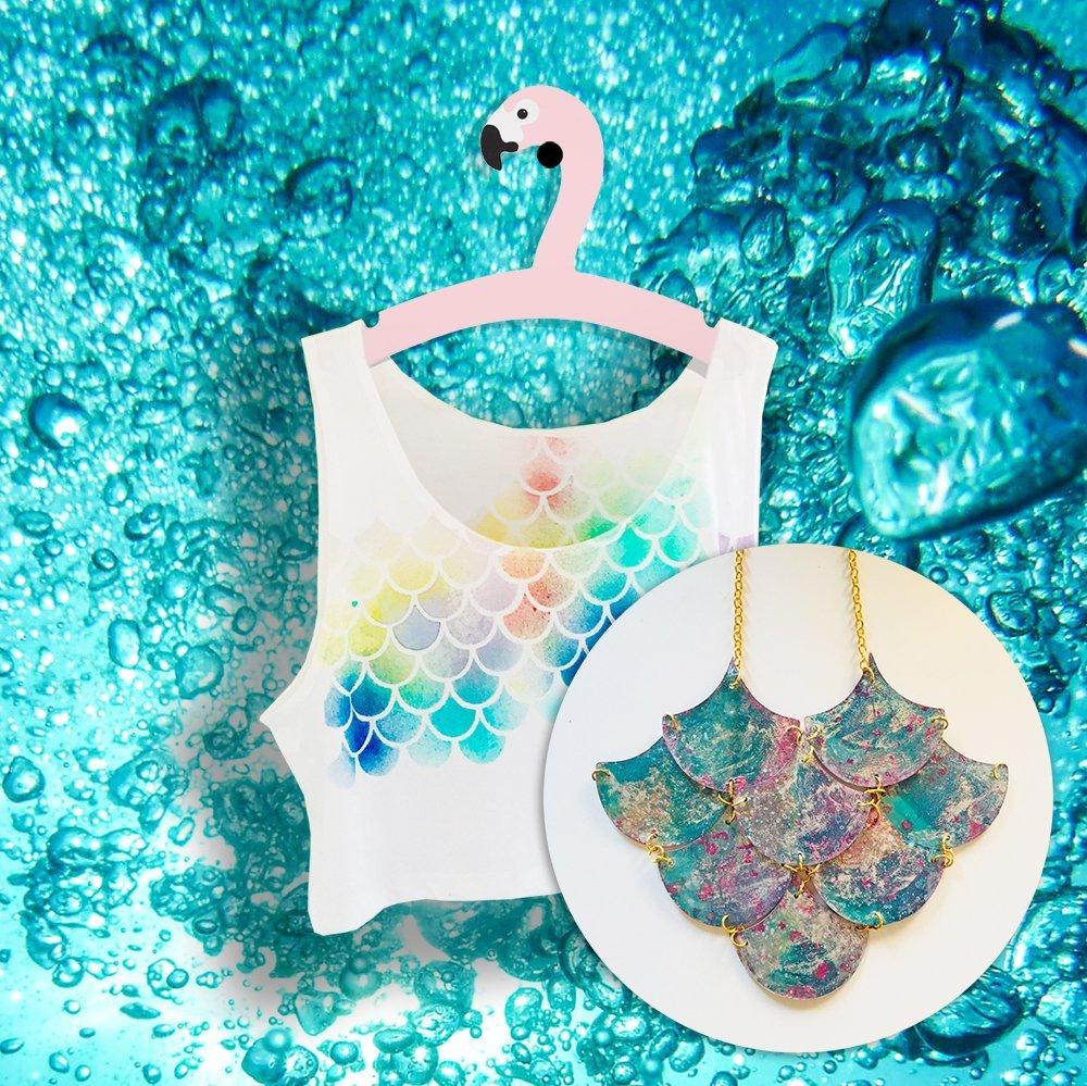 Maglietta sirena con collana abbinata - Top mare - Stile spiaggia tema nautico estate - Moda Ariel trend moda sirena - Regalo per lei