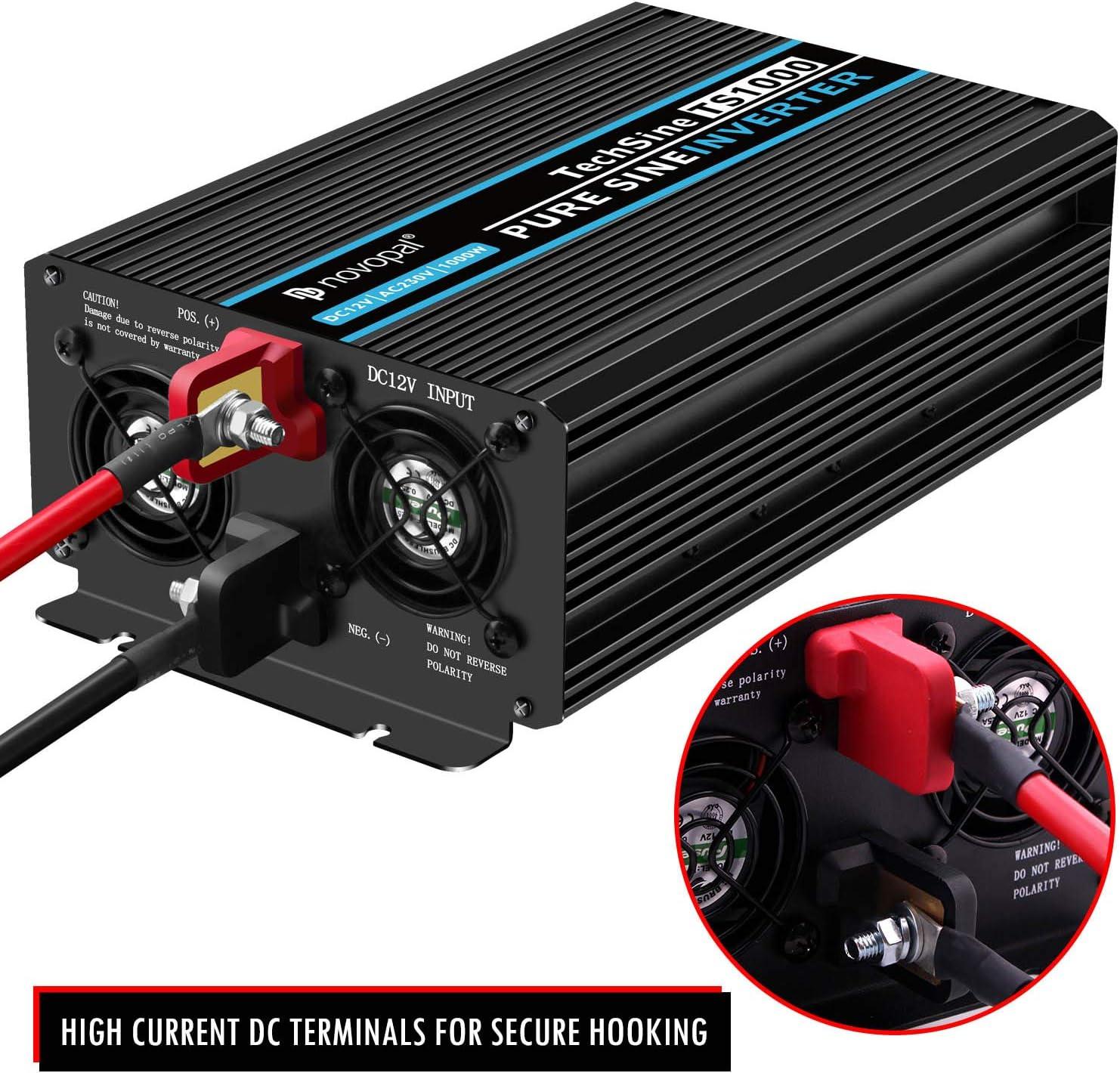convertidor de inversor con 2 enchufes EU y Puerto USB-Incl Convertidor de Voltaje de Onda sinusoidal Pura para Coche de 1000W convertidor de Coche de 12v a 230v