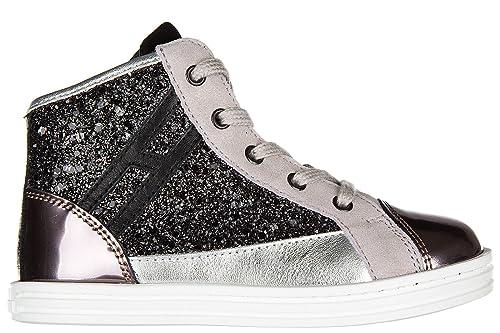 8bd1bd2278cd6 Hogan Rebel Scarpe Sneakers Bimba Bambina Alte Pelle Nuove r141 Zip Rosa   Amazon.it  Scarpe e borse