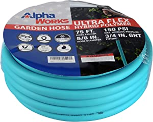 """AlphaWorks Garden Water Hose 5/8"""" Inch x 75' Feet Heavy Duty Premium Commercial Ultra Flex Hybrid Polymer Hose Max Pressure 150 PSI/10 BAR with 3/4"""" GHT Fittings"""