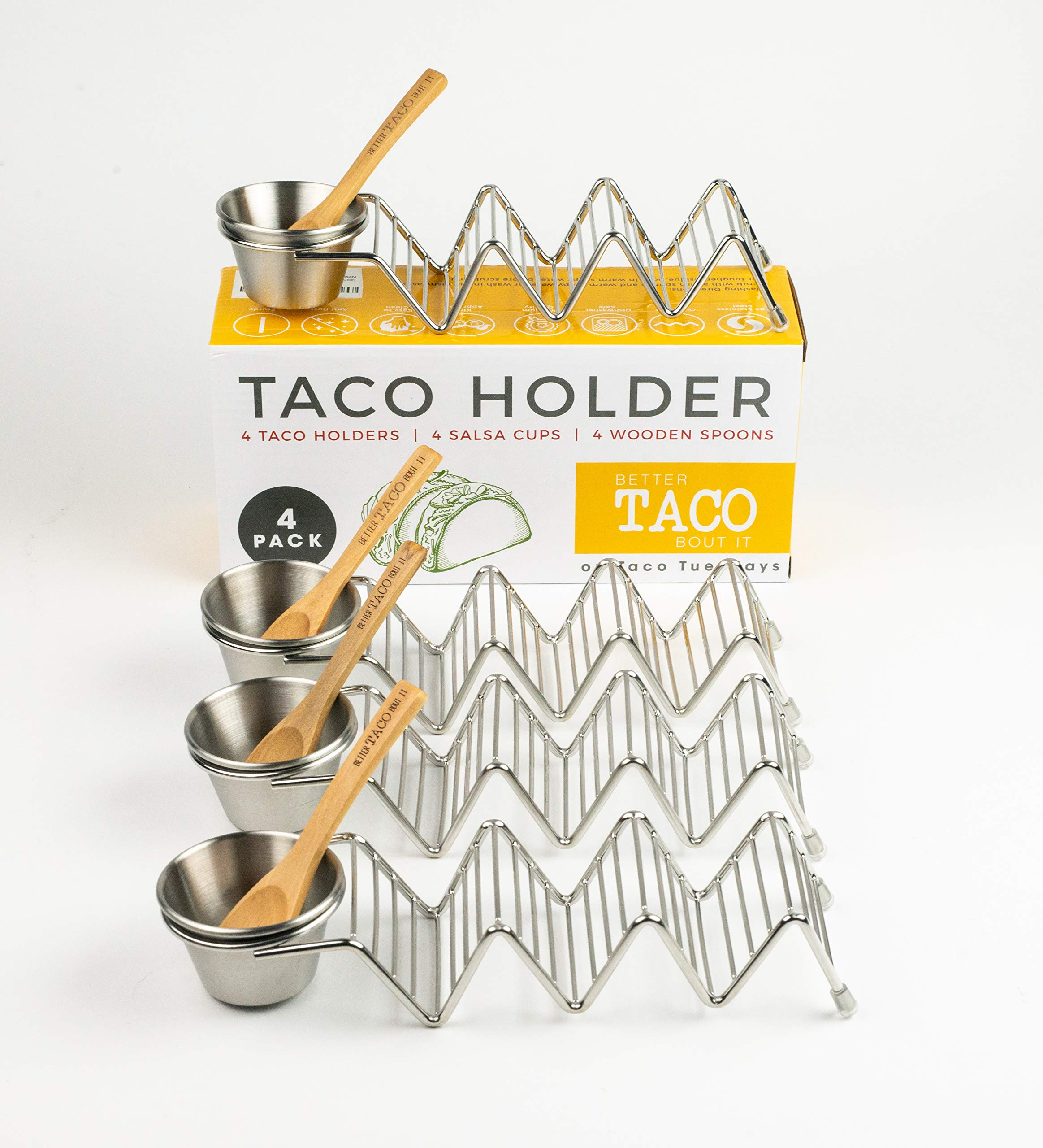 Taco Shell Stand Up Holders - 4 Pack Premium Stainless Steel Oven & Dishwasher Safe Taco Holder, Holds 3 Tacos Each Keeping Shells Neat & Upright, Also Comes With 4 Salsa Cups & 4 Wooden Spoons