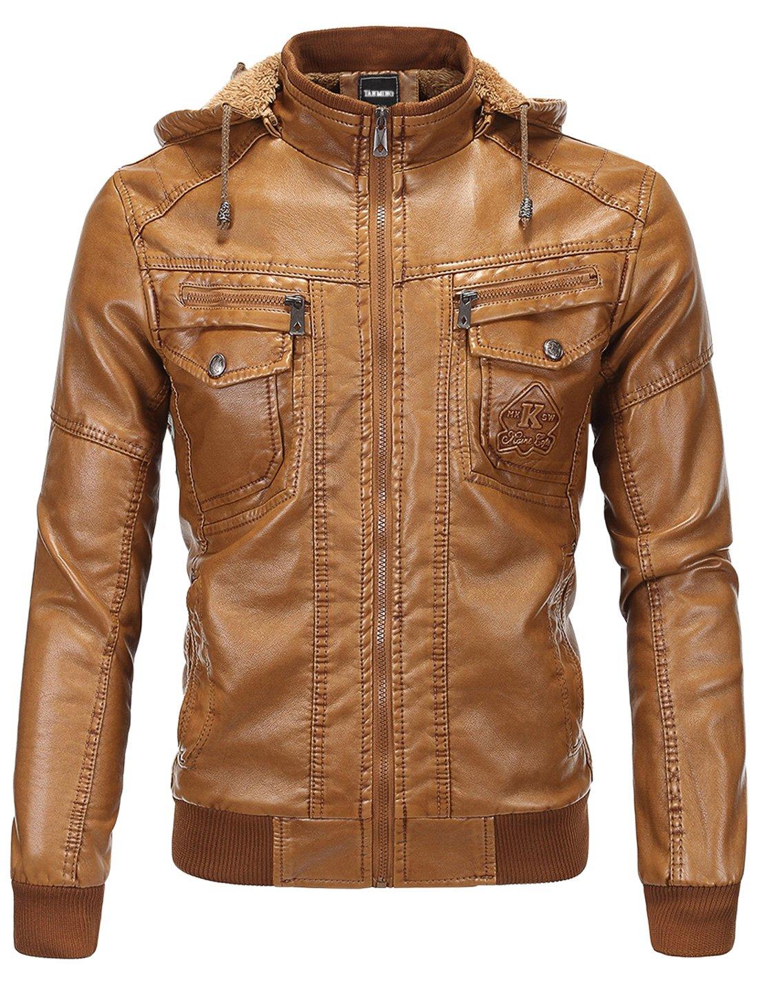 Tanming Men's Pu Leather Jacket with Removable Fur Hood Tanming-100340