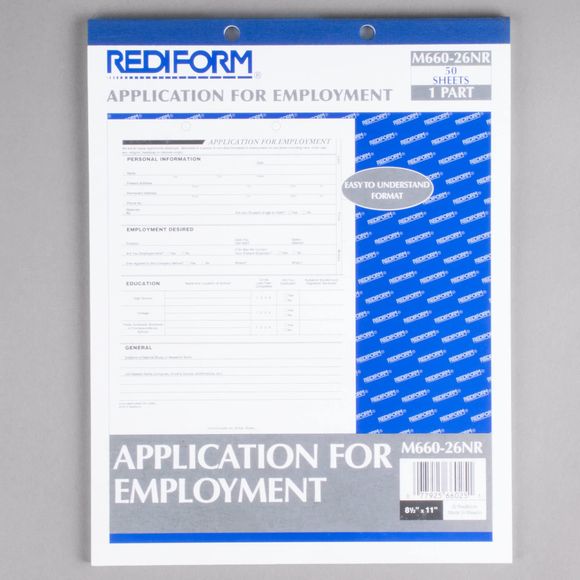 TableTop King Office M66026NR Employment Application Book - 50 Sheets