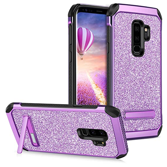 pretty nice 5b5b9 1de6b GUAGUA Galaxy S9 Plus Case Kickstand Slim Glitter Sparkly 2 in 1 Hybrid  Hard PC Cover with Bling Faux Leather Girls Women Shockproof Protective  Tough ...