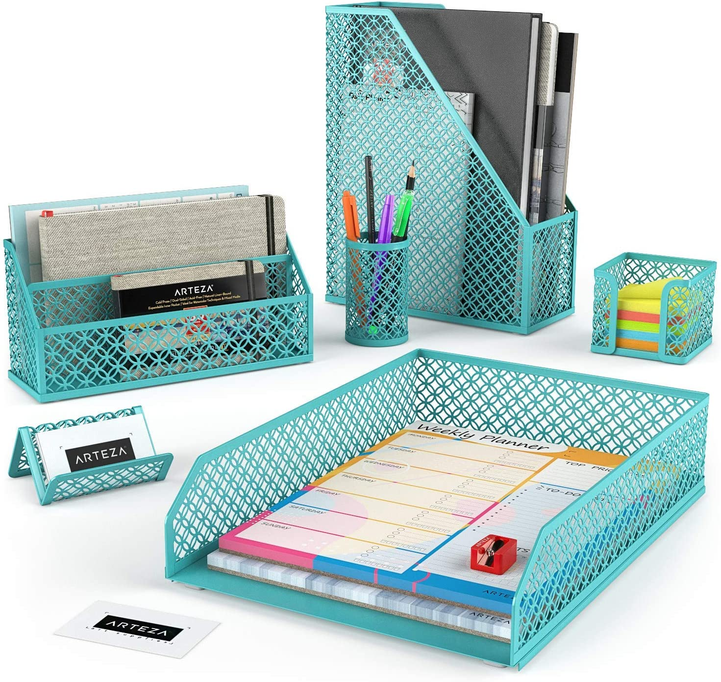 Arteza Desk Organizer Accessories Set in Tiffany Blue, 6-Piece Includes Pencil Cup Holder, Letter Sorter, Letter Tray, Magazine Holder, Name Card Holder, Sticky Note Holder for Home or Office