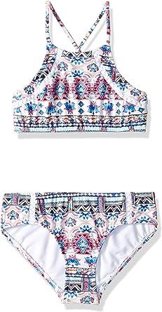 Seafolly Girls Tie Front Short Sleeve Tankini Swimsuit Set