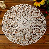 kilofly Handmade Crochet Cotton Lace Table Sofa Doily, Waterlily, White, 20 inch