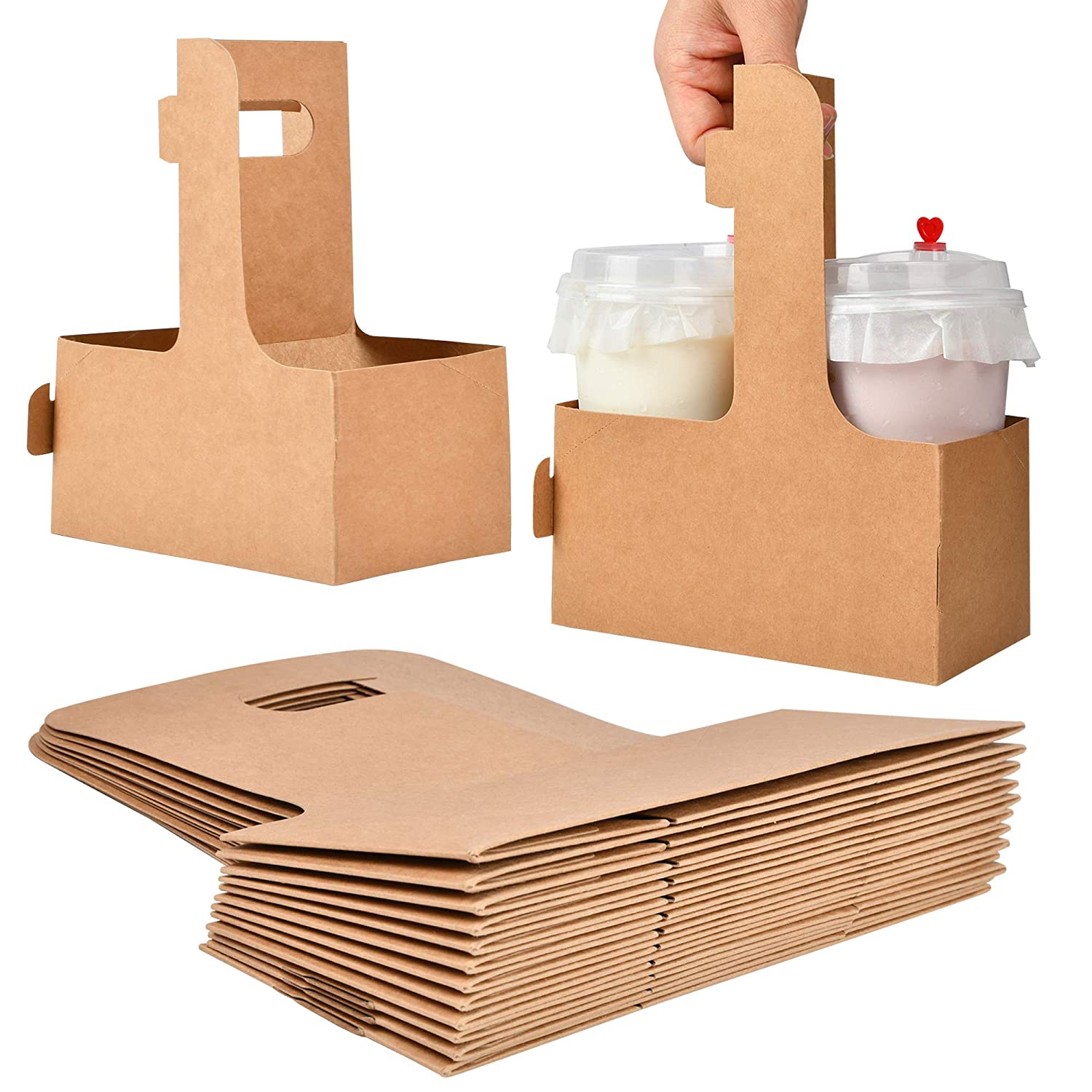 2 Cup Disposable Drink Carrier with Handle, Supkiir Kraft Paperboard Cup Holder for Hot or Cold Drinks, to Go Coffee Cup Holder for Food Delivery Service, 20 Count