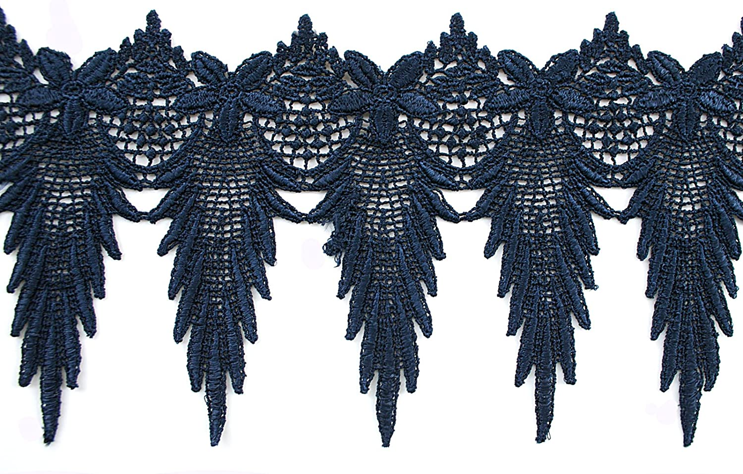 Black Altotux 6 Royal Blue Turquoise Navy Light Blue Lime Green White Ivory Black Embroidered Scalloped Venice Lace Trim Guipure Trimming By Yard