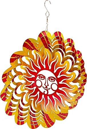 Dundee Deco W2212 Wind Spinner en Caja de Regalo – 3D Colgante Interior Exterior Patio Jardín Decoración – Mandala – Llama Smiling Sun – Rojo Amarillo – 12 Hombres Mujeres, Recuerdo, Presente: Amazon.es: Jardín