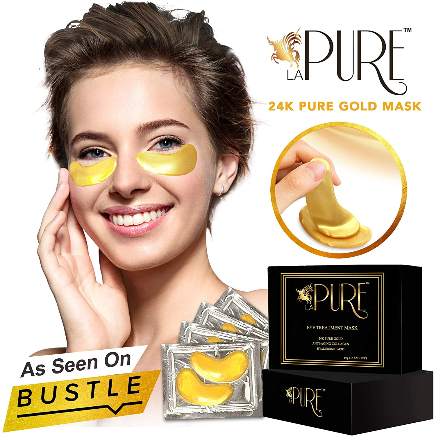 LA PURE 24K Gold Eye Treatment Masks - Under Eye Patches, Dark Circles Under Eye Treatment, Under Eye Bags Treatment, Eye Mask for Puffy Eyes, Anti-Wrinkle, Undereye Dark Circles, Gel Pads 15 Pairs : Beauty