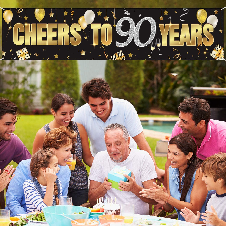 Banner Cumplea/ños 90 Tel/ón de Fondo de Signo de Cumplea/ños Brillante de Oro Negro Suministros para Cumplea/ños 90 A/ños Decoraciones Feliz 90 Cumplea/ños con Cheers to 90 Years