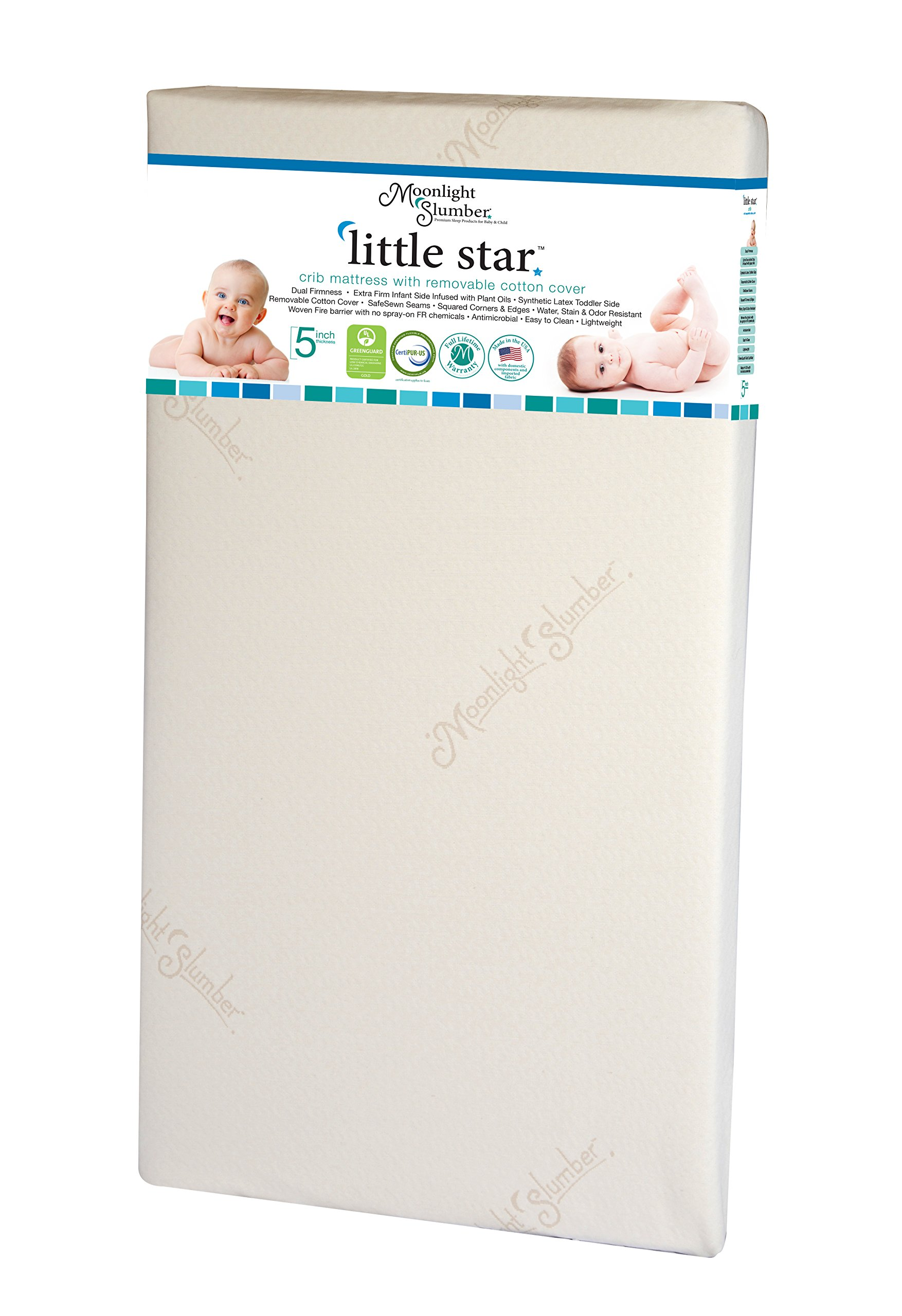 Moonlight Slumber Little Star Dual Firmness Crib Mattress - Water Resistant, Hypoallergenic, and Antimicrobial Lightweight Infant / Toddler Crib Mattress with Removable Performance Cotton Cover by Moonlight Slumber