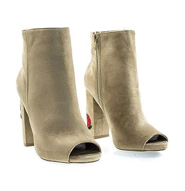 723cc77d25e1 Wild Diva Women Lounge Embroidered Peep Toe Chunky Heel Booties (5 B(M)