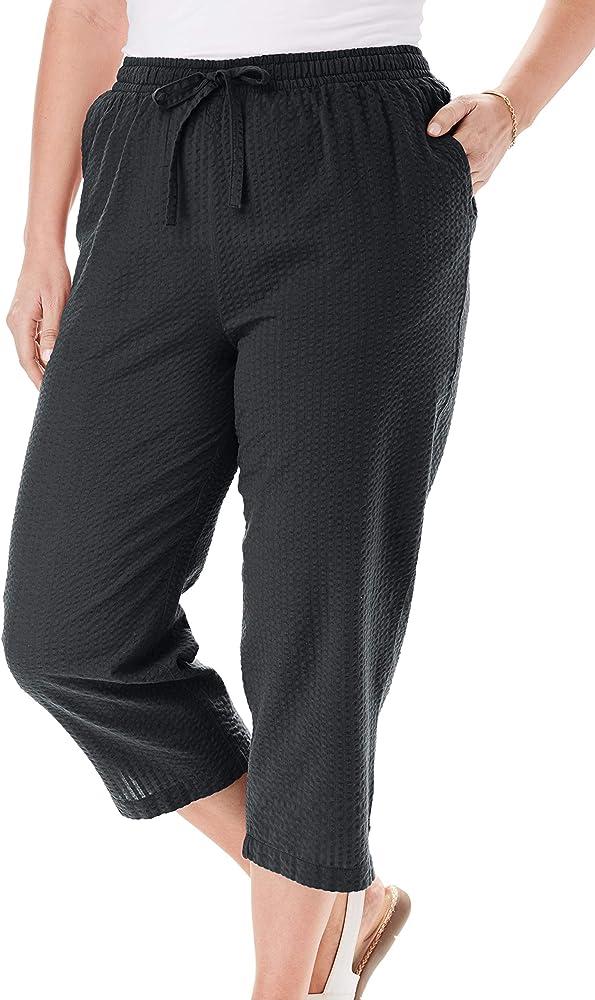 Woman Within Women S Plus Size Petite Seersucker Capri Pant 14 W