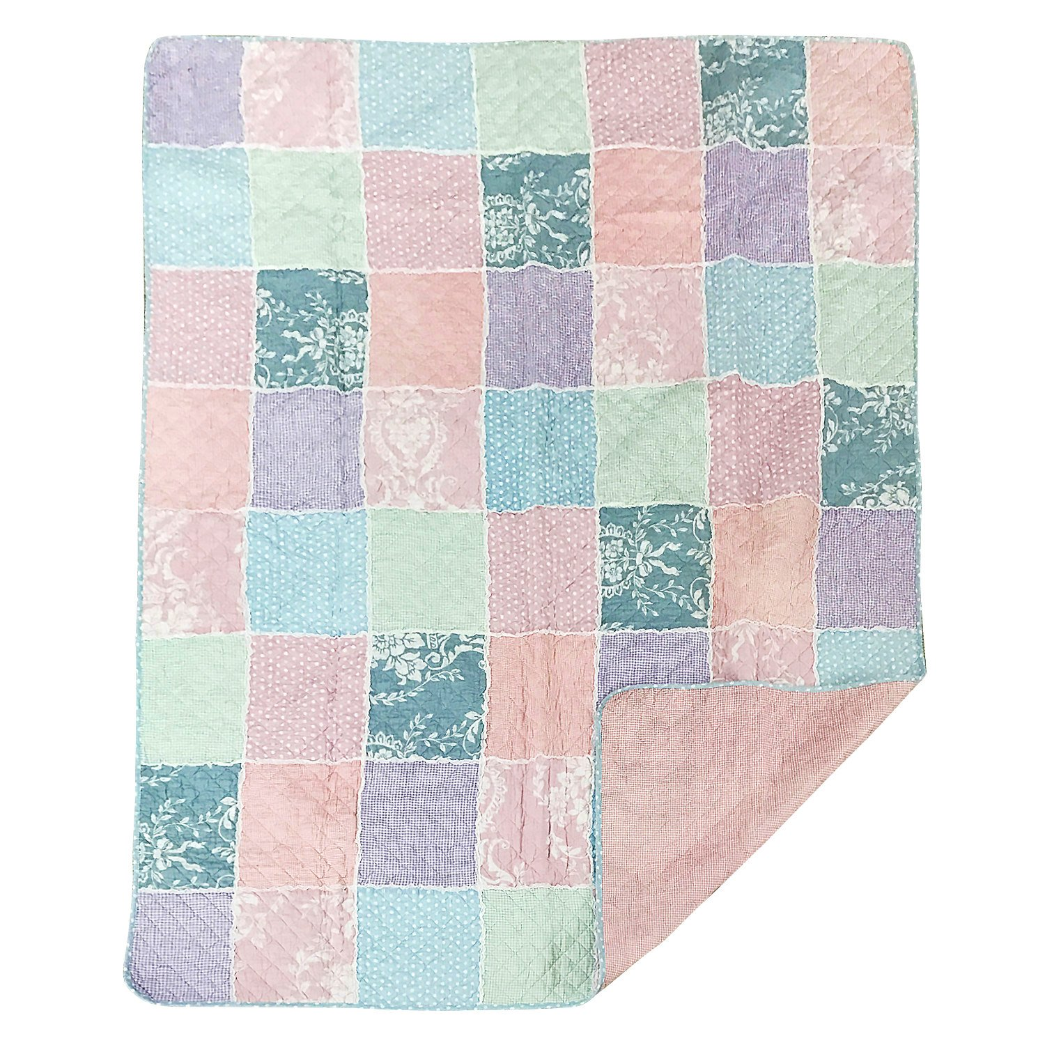 Brandream Twin Size Girls Romantic Rustic Style Summer Quilts And Blankets Shabby Pink And Purple Comforters And Bedspreads