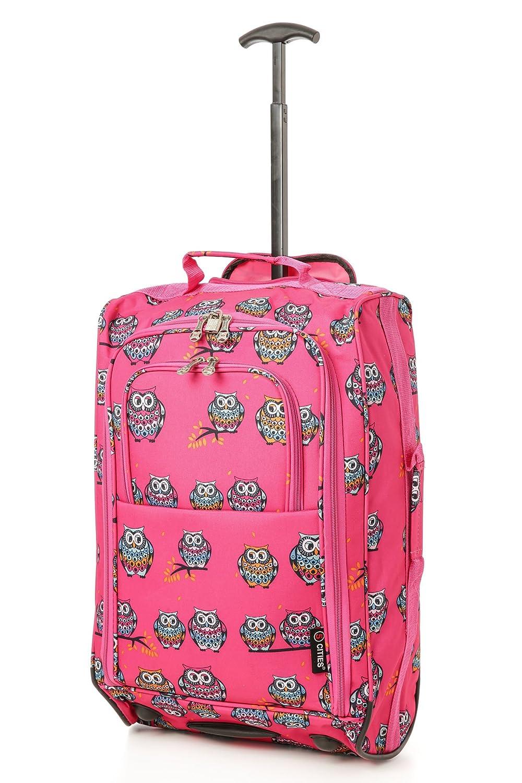 5 Cities Cabin Handgep_ck Leicht Trolley Taschen 42L (1 Stück, Owls - Pink)