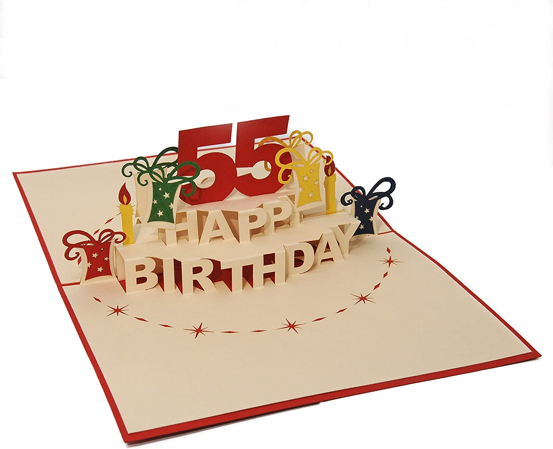 Favour Pop Up carte de v/œux Anniversaire 55/ans aufw/ändige main et ausgefeilte la technologie laser Cr/éer une carte de v/œux Anniversaire Original ta55r