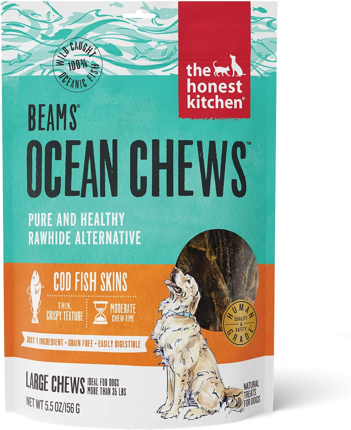 The Honest Kitchen Beams Grain-Free Dog Chew Treats – Natural Human Grade Dehydrated Fish Skins