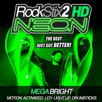 VERDE - ROCKSTIX2 HD NEON - ULTRA luz brillante del LED UP BAQUETAS: Amazon.es: Instrumentos musicales