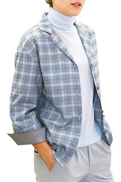 chaika Camisa Mujer Cuadros Manga Larga Blusa para Gemelos Color Gris Azul Cielo S