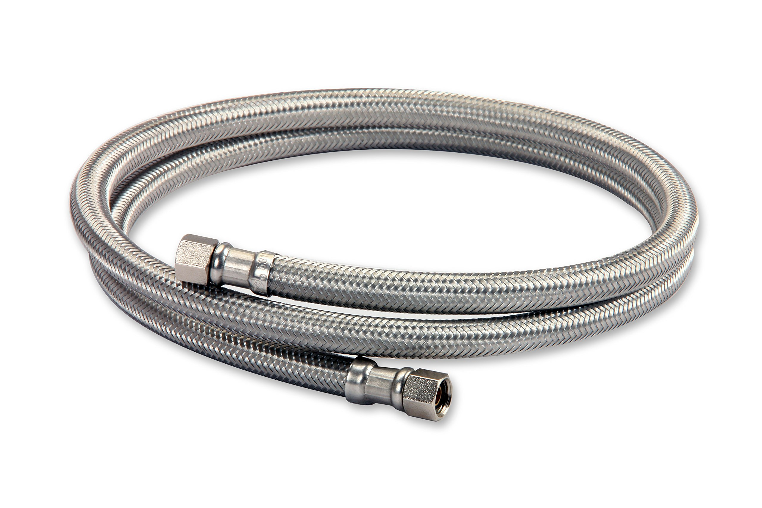 Everflow Supplies 2665-NL Lead Free Stainless Steel Braided Ice Maker Supply Line with Two 1/4'' Fittings on Both Ends, 60''