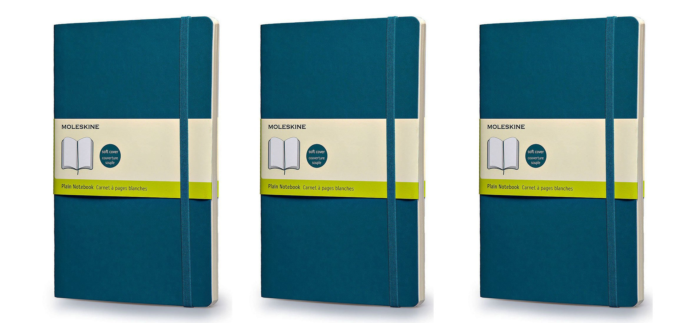 Moleskins Classic Colored Notebook, Large, Plain, Underwater Blue, Soft Cover (5 x 8.25) Pack of 3