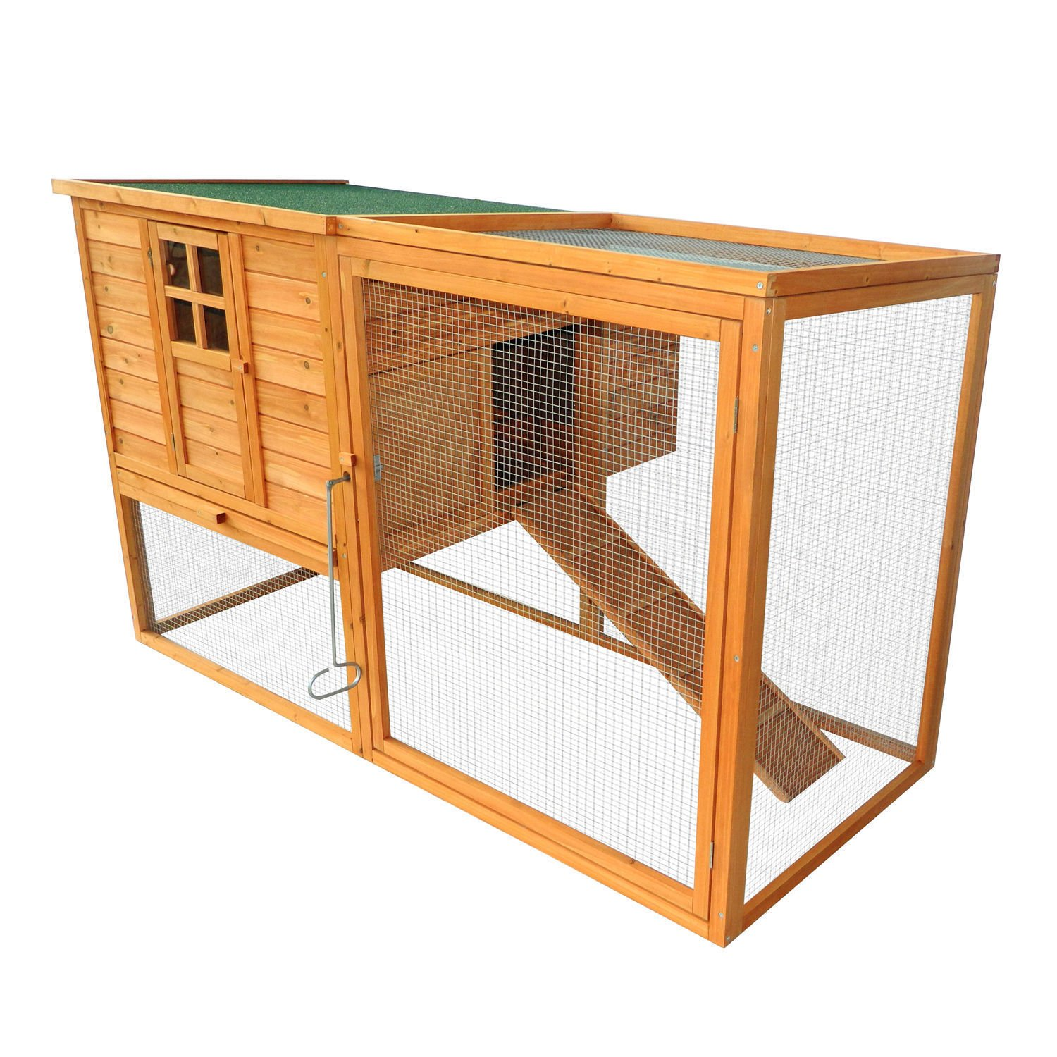 PawHut 64'' Large Wooden Chicken Coop Kit With Outdoor Run And Nesting Box by PawHut