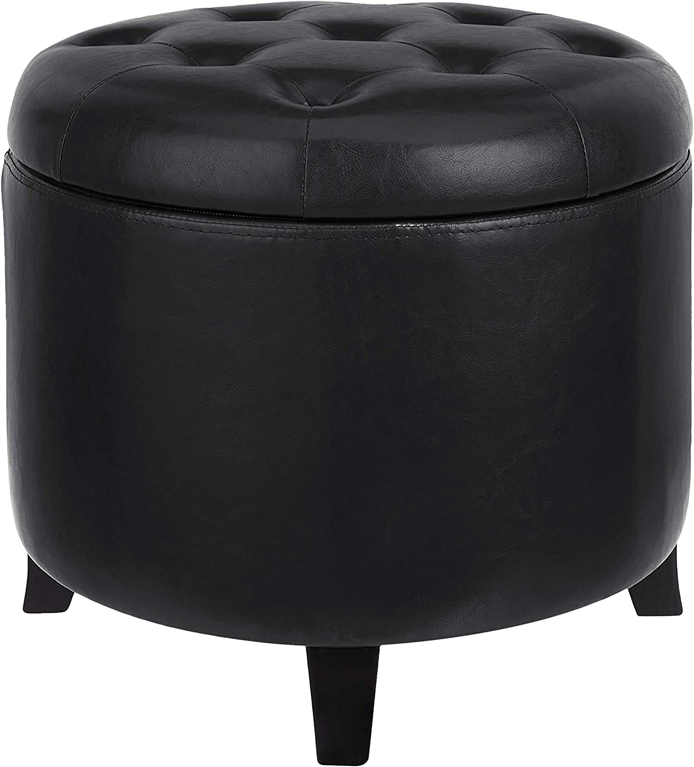 First Hill Comfort Round buckle reserve stool chair, Black Faux leather