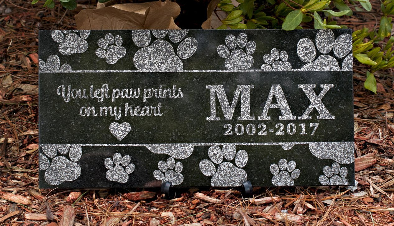 12 x 6 Engraved Granite Cat or Dog Memorial
