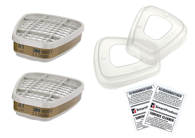 Filtre Cartouche 3M 6051 A1 Vapeurs Organiques pour Masque (2 Pié ce / 1 Paire) + 3M 501 Bague de Maintien + SmartProduct Tampons Alcool 2 piè ce - Bundle intervisio