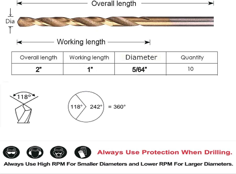 """5//64/""""Dia 118Deg Split Point Jobber Length Carbide Twist Drill"""