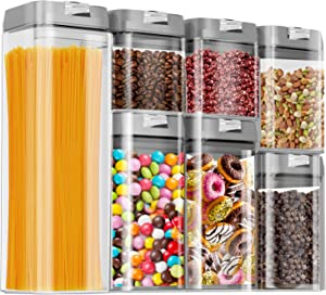 Airtight Food Storage Containers, Kitchen Storage Containers, Cereal & Dry Containers Storage Set, BPA Free, Kitchen Pantry Organization and Storage with Easy Lock Lids, 7 Pieces