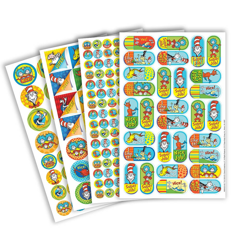 Eureka Dr. Seuss Back to School Motivational Corner Stickers for Teachers and Students, 536pc