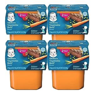 Gerber 2nd Foods Baby Food Tubs, Vegetable Beef Dinner, 8 OZ (Pack of 4)