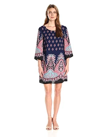 8ee332ed Sangria Women's Paisley Sheath Dress with Bell Sleeves at Amazon ...