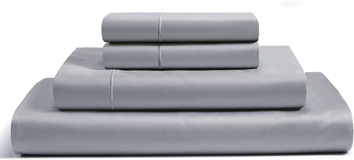 CHATEAU HOME COLLECTION 100% Egyptian Cotton Sheets King Size, 800 Thread Count Silver 4 Piece Sheet Set, Solid Sateen Weave, 16