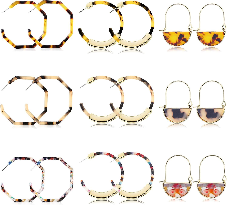 FIBO STEEL 9 Pairs Acrylic Tortoise Dangle Earring for Women Girls Boho Resin Statement Drop Hoop Earrings Fashion Jewelry