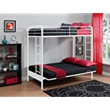DHP Twin Over Futon Metal Bunk Bed, White