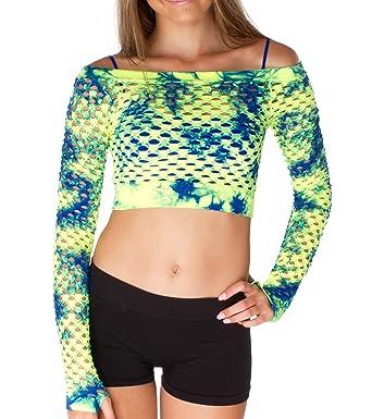 180bc67547516e Amazon.com  Malibu Sugar Girls 7-14 Mesh Tie Dye Long Sleeve Crop Top One  Size Neon Yellow Cobalt  Clothing