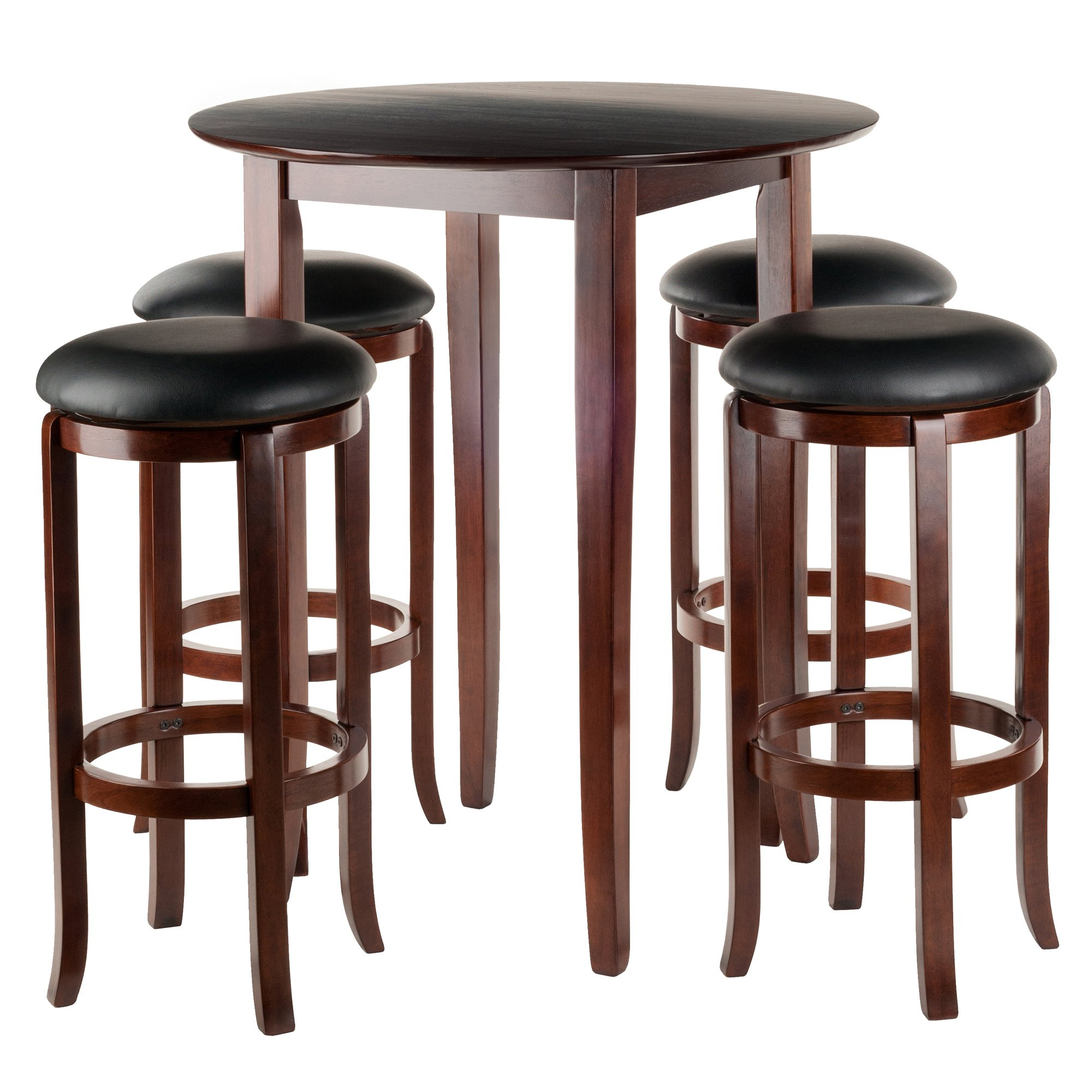 Winsome Fiona 5Piece Round High Pub Table Set in Antique Walnut Finish by Winsome Wood