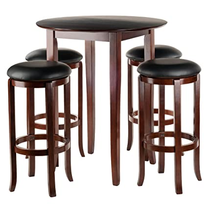 Attrayant Winsome Fiona 5 Piece Round High Pub Table Set In Antique Walnut Finish